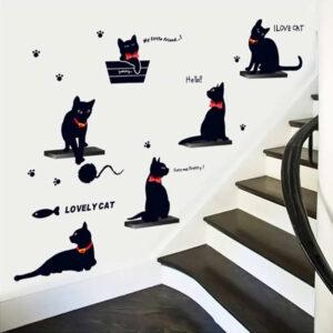 Adesivi da parete gatti con papillon e collarini