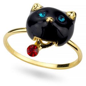 Anello a forma di gatto nero con brillanti blu e rossi