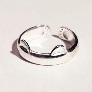 Anello con orecchiette e zampette di gatto in argento 925