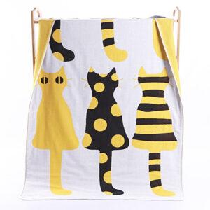 Asciugamano da doccia in cotone con gatti gialli