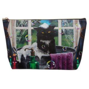 Astuccio beauty con gatto nero disegnato da Lisa Parker