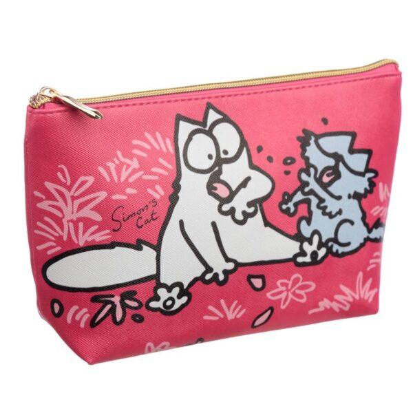 Astuccio beauty rosso con gatto Simon's Cat, lato