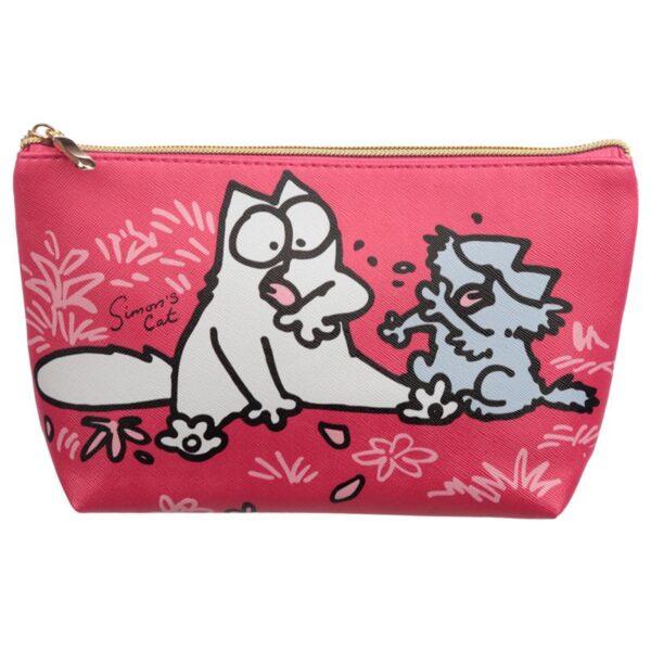 Astuccio beauty rosso con gatto Simon's Cat
