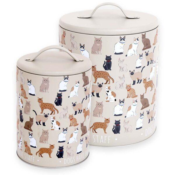 Barattoli in metallo con gatti