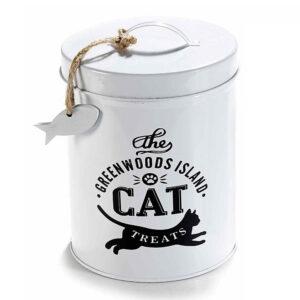 Barattolo di latta grande con gatto