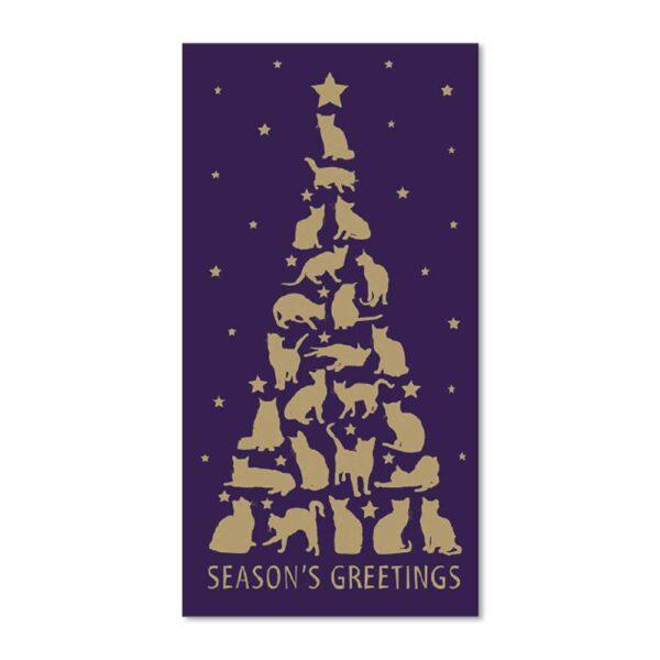 Biglietto di Natale con albero dorato composto da gatti