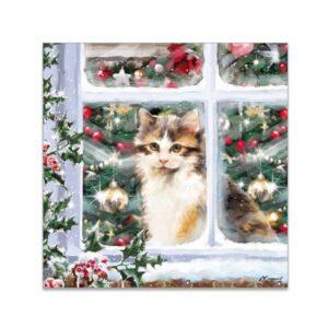 Biglietto di Natale con gattino alla finestra
