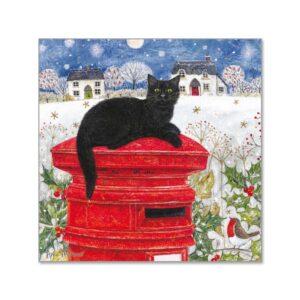 Biglietto di Natale con gatto sdraiato su una buca delle lettere