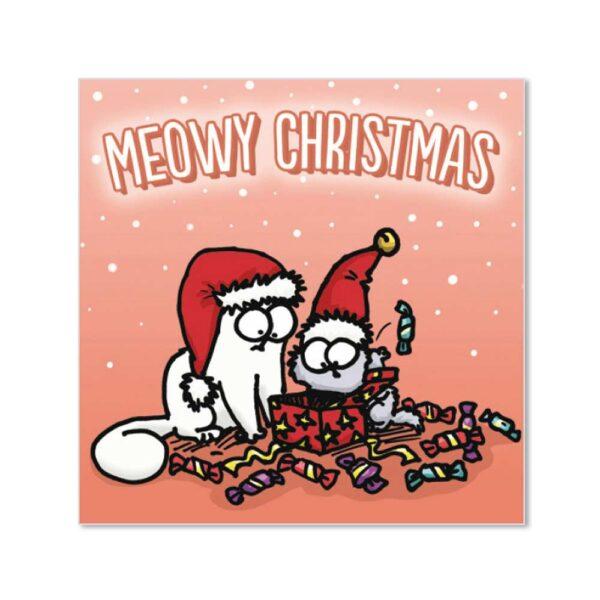 Biglietto di Natale con gatto di Simon's Cat, colore azzurro
