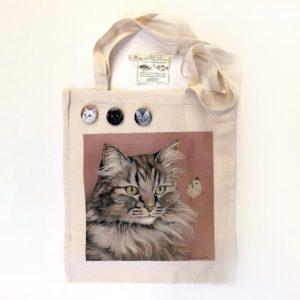 Borsa in cotone con ritratto di gatto Durante Illustrations fronte