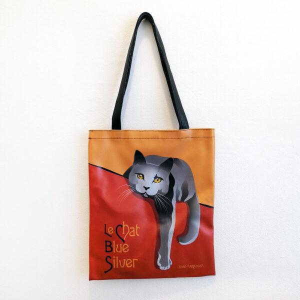 Borsa ecopelle a spalla con gatti Le Chat con gatto grigio