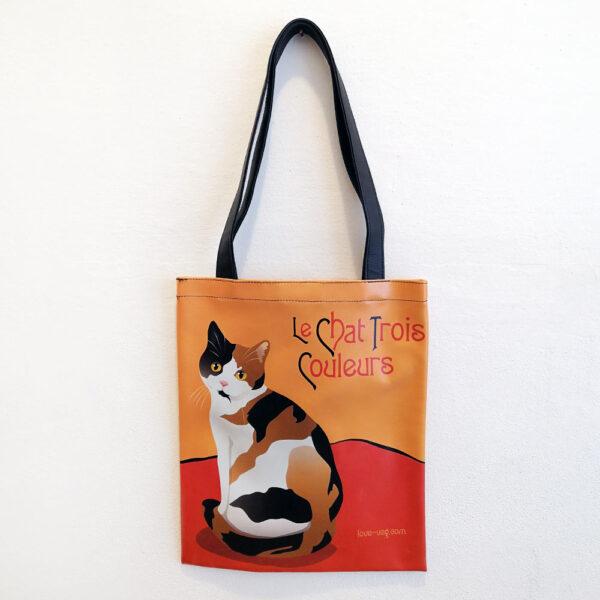 Borsa ecopelle a spalla con gatti Le Chat con gatto pezzato