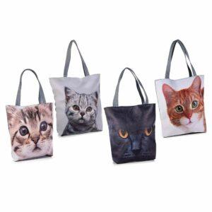 Borsa in ecopelle e stoffa con foto di gatti