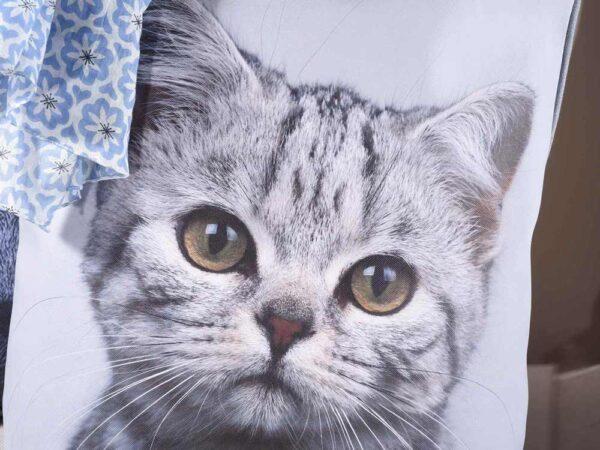 Borsa in ecopelle e stoffa con foto di gatti, dettaglio stampa
