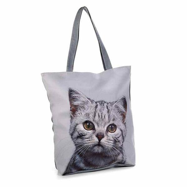 Borsa in ecopelle e stoffa con foto di gatti, grigio