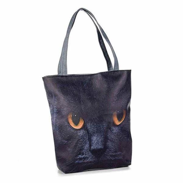 Borsa in ecopelle e stoffa con foto di gatti, nero