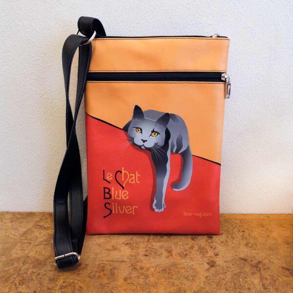 Borsa ecopelle a tracolla con gatti Le Chat con gatto grigio
