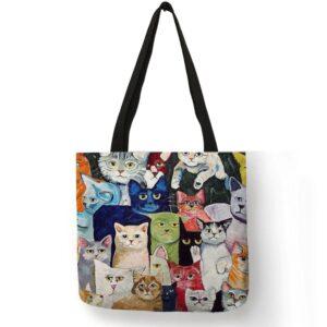 Borsa con gatti colorati