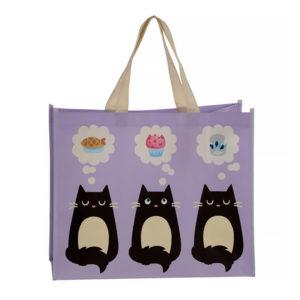 Borsa shopper con gattini neri fronte