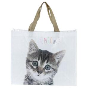 Borsa shopper con gattino e scritta meow