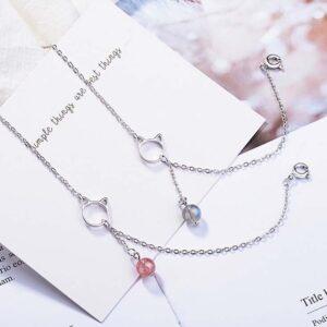 Braccialetto d'argento musetto gatto e perlina colorata