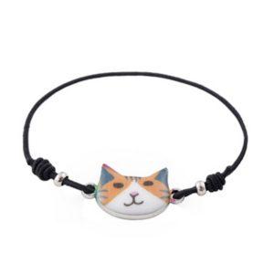 Braccialetto con musetto di gatto rosso e bianco