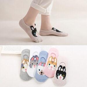 Calze fantasmini colorate con musetti di gatto