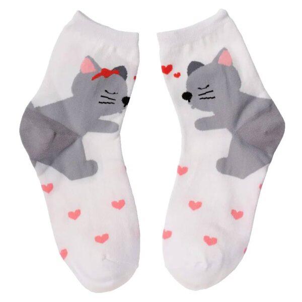 Calze bianche con gatti innamorati e cuoricini