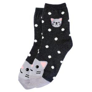 Calze a pois con gattino grigio