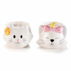 Candela in vasetto di ceramica a forma di musetto di gattina