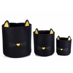 Cestino portaoggetti in feltro a forma di gatto, set completo