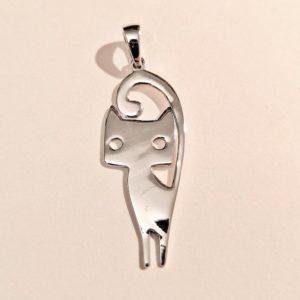 Ciondolo in argento 925 a forma di gattino stilizzato, fronte
