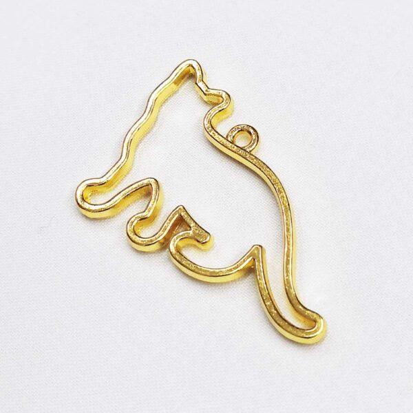 Ciondolo dorato a forma di gatto che cammina