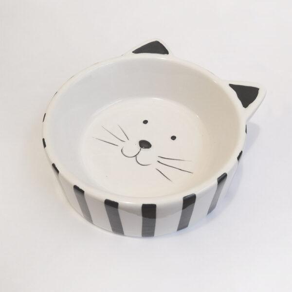 Ciotola in ceramica a forma di musetto di gatto