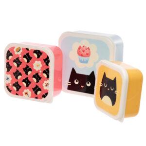 Set contenitori per alimenti con gatto nero feline fine