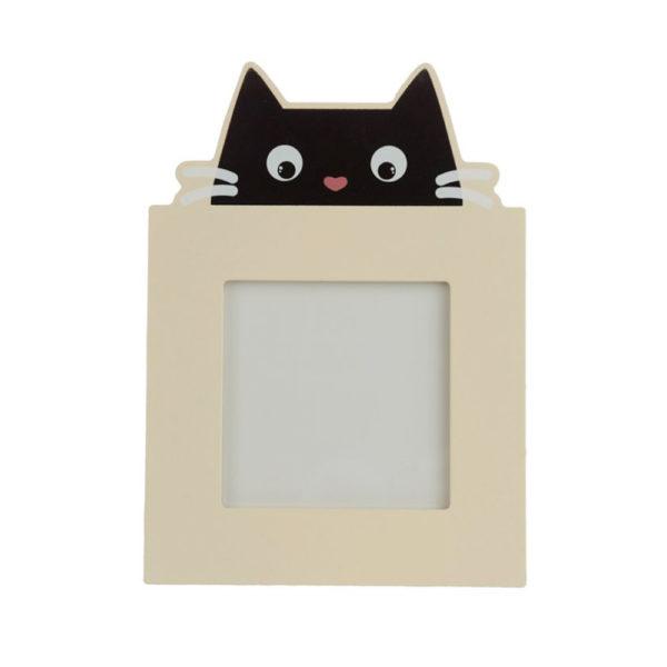 Cornice portafoto in legno con gatto nero