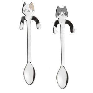 Cucchiano in acciaio inox a forma di gattino