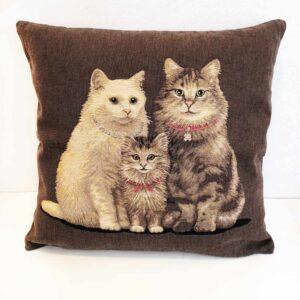 Cuscino Jacquard con famigliola di gatti