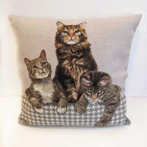 Cuscino Jacquard con tre gatti tigrati
