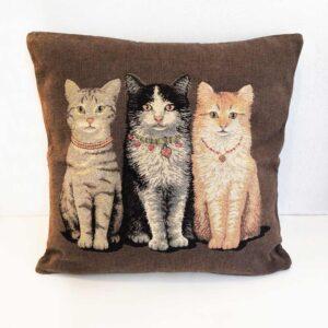 Cuscino Jacquard con tre gattine