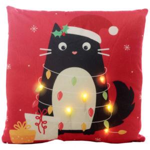 Fronte cuscino natalizio con luci a LED e gattino nero Feline Fine