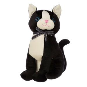 Fermaporte a forma di gatto nero e bianco in velluto fronte
