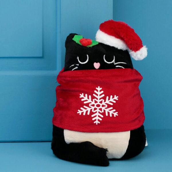 Fermaporte natalizio gattino nero ambientato