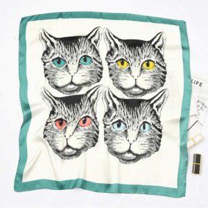 Foulard musetti gatto bianco e verde acqua