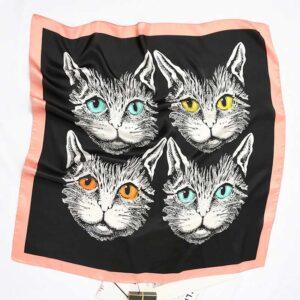 Foulard musetti gatto nero e rosa