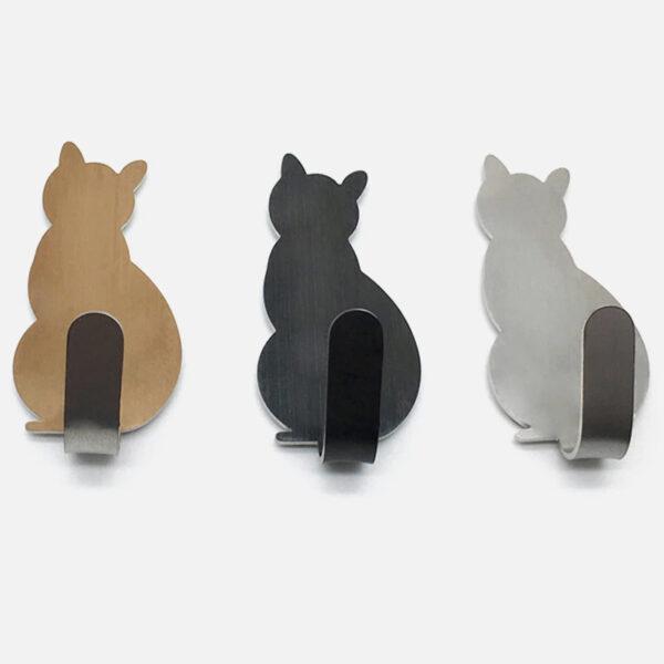 Gancetti adesivi in acciaio inox a forma di gatto