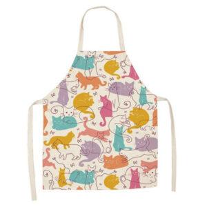 Grembiule da cucina con disegni gatti colorati