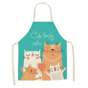 Grembiule da cucina verde acqua con famiglia felice di gatti