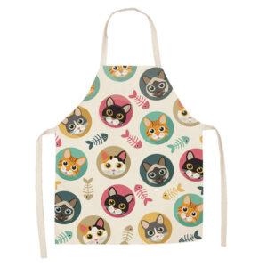 Grembiule da cucina bianco con musetti di gatti colorati
