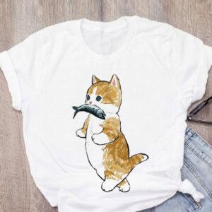 Maglietta t-shirt gattino con pesciolino